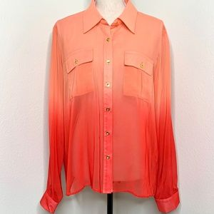 SHEER Blouse in Ombre of Corals XL